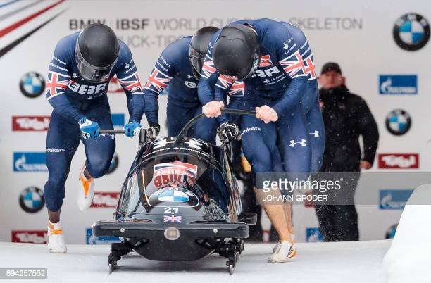 Pilot Bradley Hall with Nicholas Gleeson Andrew Matthews Gregory Cackett of Great Britain compete during the first run of the fourman Bobsleigh event...