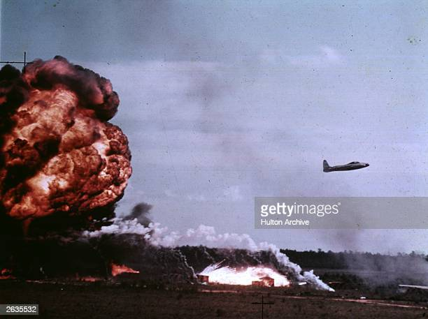 Pilot captain Bill Sharpe in a Thunderjet plane testing the effect of the intense heat of a napalm bomb on an aircraft at Elgin Airfield Florida
