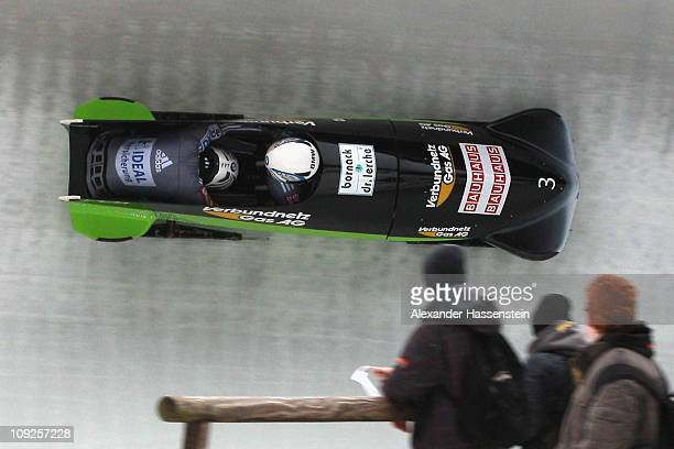 Pilot Cathleen Martini and Romy Logsch of Team Germany 2 compete at the first run of the women's Bobsleigh World Championship on February 18 2011 in...