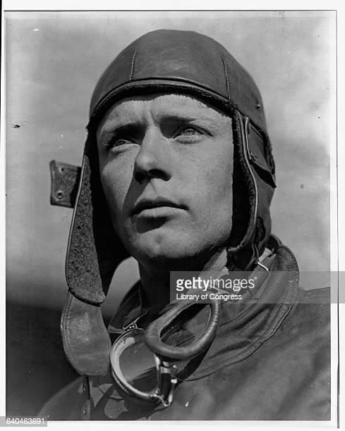 Pilot Charles Lindbergh in a leather aviator helmet He was the first person to fly solo across the Atlantic Ocean