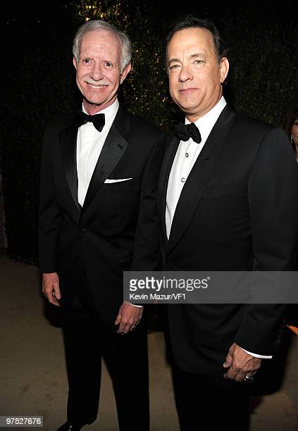 """Pilot Chesley """"Sully"""" Sullenberger and Tom Hanks attend the 2010 Vanity Fair Oscar Party hosted by Graydon Carter at the Sunset Tower Hotel on March..."""
