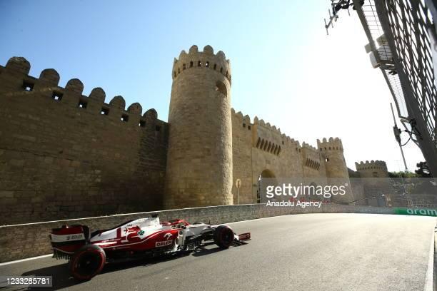 Pilot competes in the qualification lap of 2021 Azerbaijan Grand Prix in Baku, Azerbaijan on June 05, 2021. Ferrari team's Charles Leclerc takes 2021...