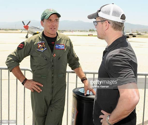 Pilot Dan Friedkin and actor Matt Damon attend The Horsemen Flight Team Event Hosted By Dan Friedkin And Lauren Sanchez Whitesell sponsored by...