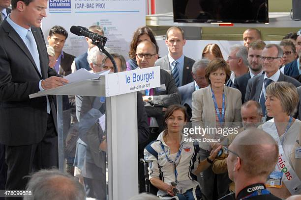 Pilot Dorine Bourneton attends the conference held by the France Prime Minister Manuel Walls before taking part in the first worldwide aerobatic show...