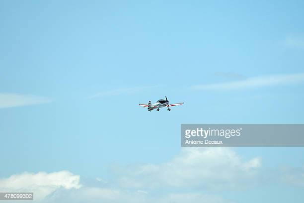 Pilot Dorine Bourneton climbs to display during the first worldwide aerobatic show performed by a paraplegic woman at the Paris Air Show 2015 in Le...