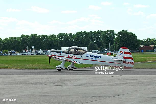 Pilot Dorine Bourneton on the taxiway before taking part in the first worldwide aerobatic show performed by a paraplegic woman, at the Paris Air Show...