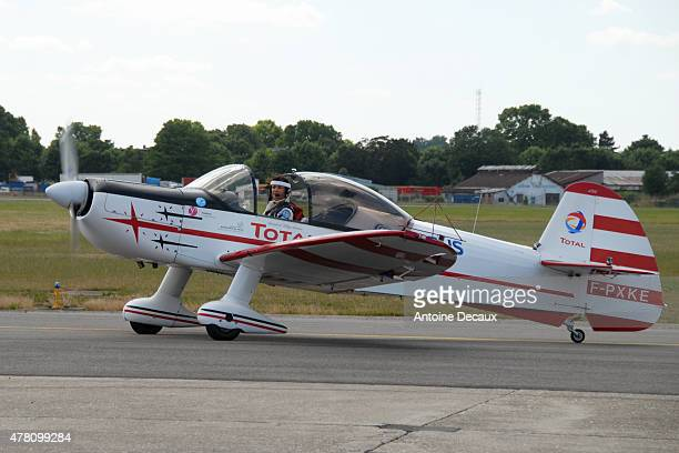 Pilot Dorine Bourneton returns to the airfield after taking part in the first worldwide aerobatic show performed by a paraplegic woman, at the Paris...