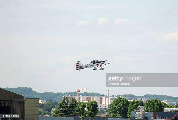 Pilot Dorine Bourneton takes off to take part in the first worldwide aerobatic show performed by a paraplegic woman, at the Paris Air Show 2015 in Le...