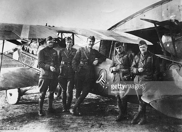 Pilot Eddie Rickenbacker the most decorated American pilot during World War I with other soldiers of the 94th Squadron in France