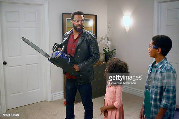 BUCK 'Pilot' Episode 101 Pictured Mike Epps as Buck Russell Aalyrah Caldwell as Maizy Russell Sayeed Shahidi as Miles Russell