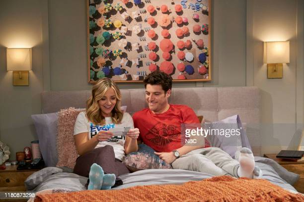 INDEBTED Pilot Episode Pictured Abby Elliott as Rebecca Adam Pally as Dave