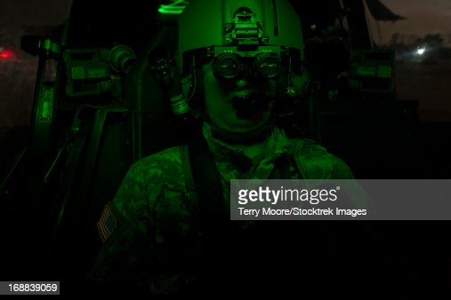 Pilot Equipped with Night Vision Goggles in the Cockpit