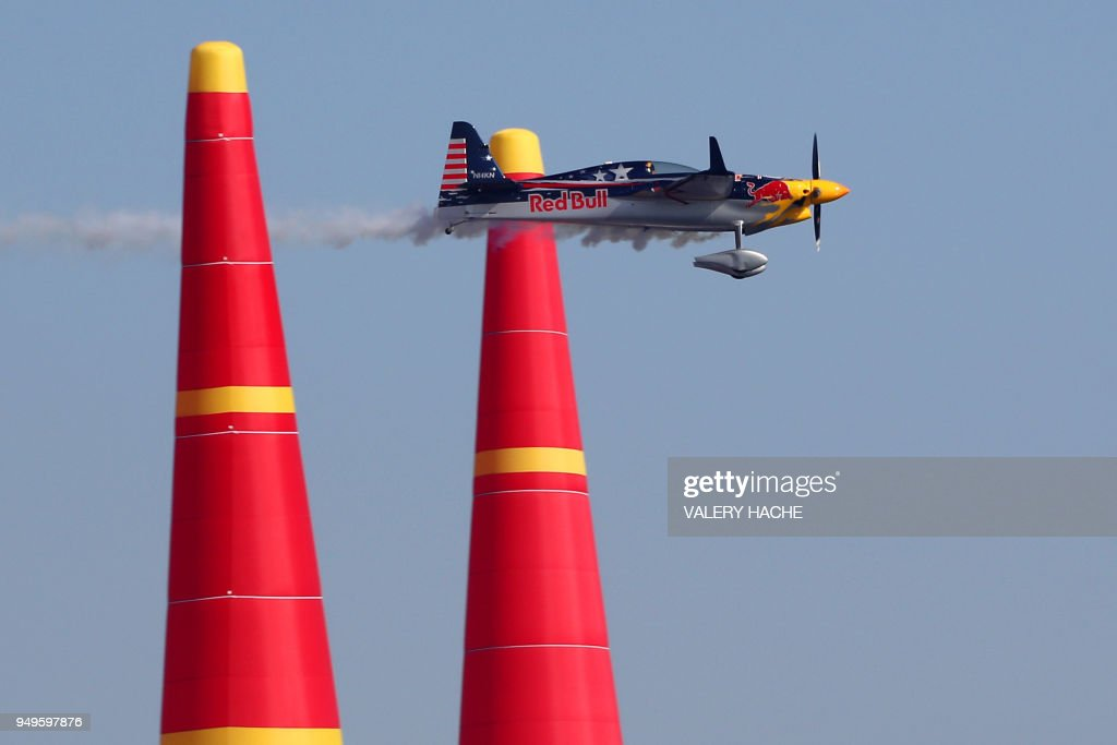 A pilot flies during a qualifications Master Class during