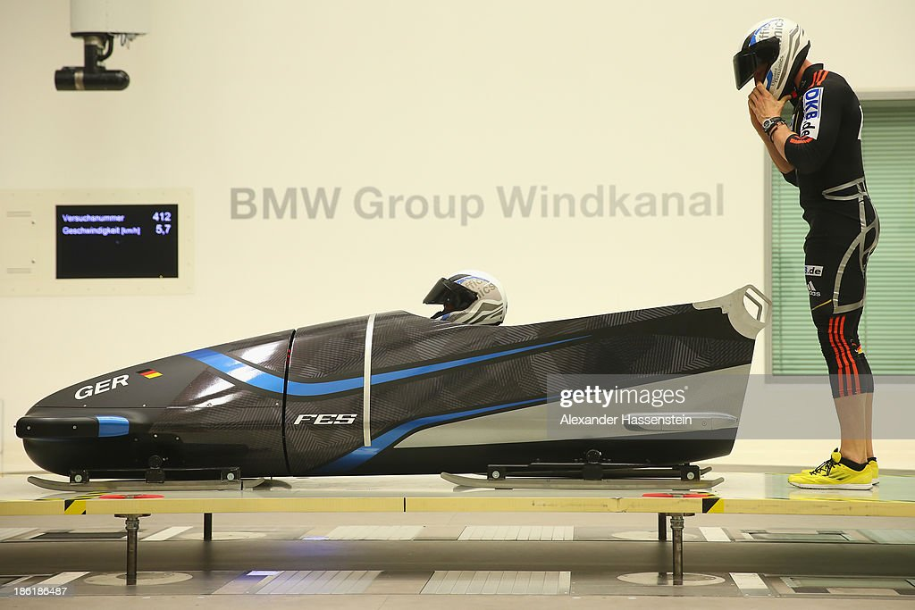 Pilot Francesco Friedrich and Alexander Mann of Team Germany 1 testing their new Bobsleigh FES 208 in the Wind tunnel of Technology Partner BMW on October 29, 2013 in Munich, Germany.