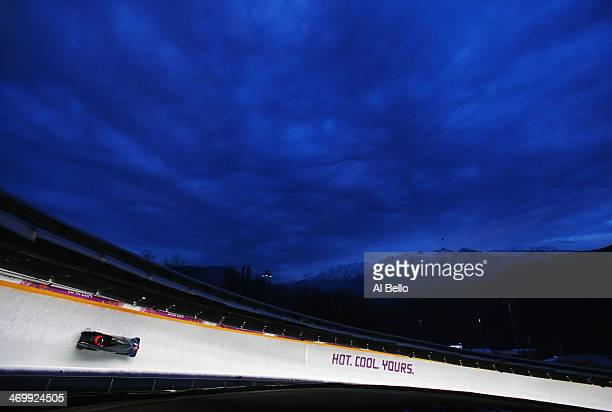 Pilot Francesco Friedrich and Jannis Baecker of Germany team 1 in action during the Men's TwoMan Bobsleigh on Day 10 of the Sochi 2014 Winter...