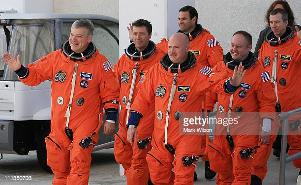 Pilot Gregory H. Johnson, European Space Agency astronaut Roberto Vittori, Commander Mark Kelly, Mission Specialist Greg Chamitoff, Pilot Gregory H....