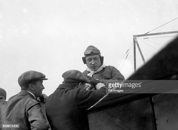 Pilot Gustav Hamel in his Bleriot monoplane before the first airmail flight from Hendon to Windsor King George V had given permission for the...