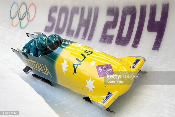 Pilot Heath Spence Gareth Nichols Duncan Harvey and Lucas Mata of Australia team 1 make a run during the Men's FourMan Bobsleigh on Day 16 of the...