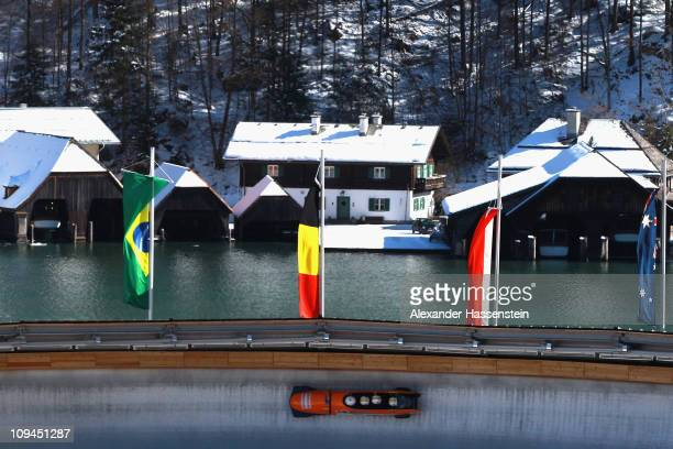 Pilot Heath Spencer of Australia 1 competes with his team mates Christian Wulff, Joshua Kelly and Dustin Macpherson in the first run of the men's...
