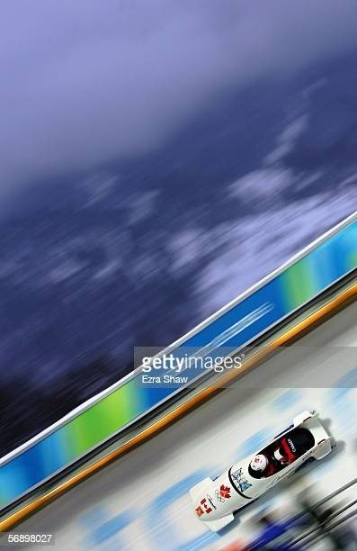 Pilot Helen Upperton and Heather Moyse of Canada 1 compete in the Two Woman Bobsleigh Final on Day 11 of the 2006 Turin Winter Olympic Games on...