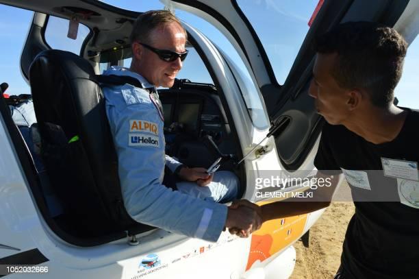 Pilot Herve de SaintExupery great grandnephew of French writer and pilot Antoine de SaintExupery is welcomed as he lands during LatecoereAeropostale...