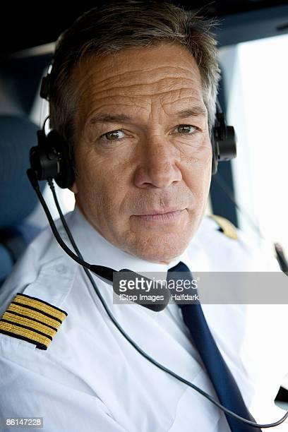 A pilot in a cockpit