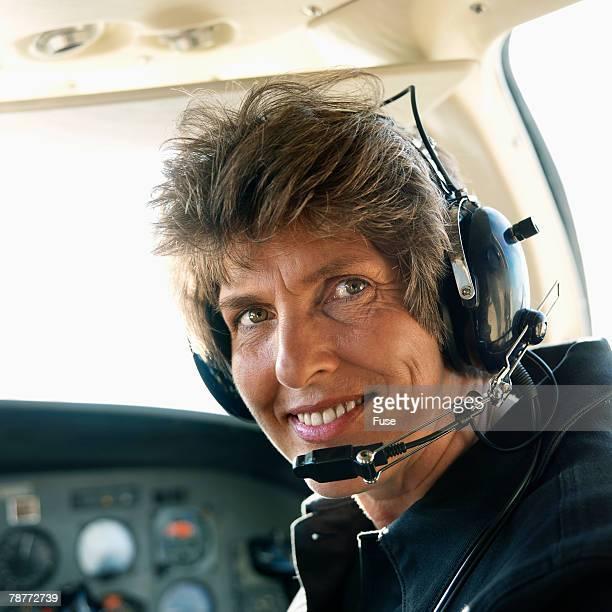 Pilot in Cockpit of Private Jet