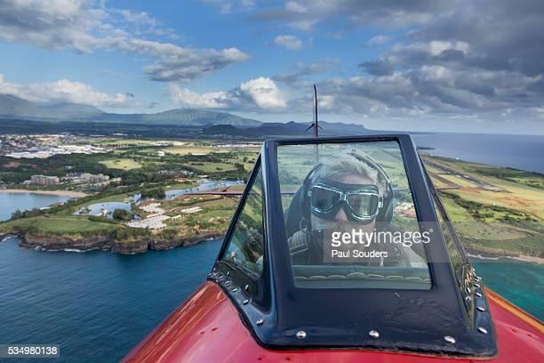 Pilot in Open Cockpit Biplane, Kauai, Hawaii