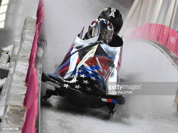 TOPSHOT Pilot Jamie Greubel Poser of the USA finishes her 2woman bobsleigh training session at the Olympic Sliding Centre during the Pyeongchang 2018...