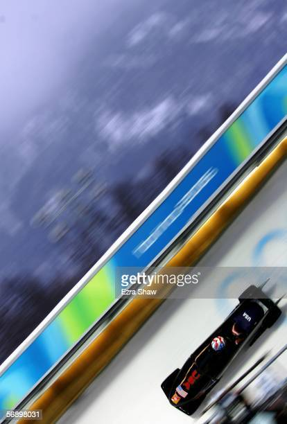 Pilot Jean Prahm and Vonetta Flowers of the United States 2 compete in the Two Woman Bobsleigh Final on Day 11 of the 2006 Turin Winter Olympic Games...