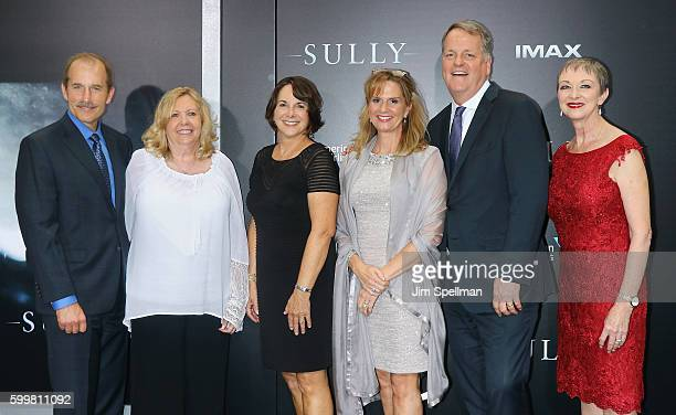 Pilot Jeff Skiles and the flight crew of US Airways Flight 1549 attend the Sully New York premiere at Alice Tully Hall Lincoln Center on September 6...