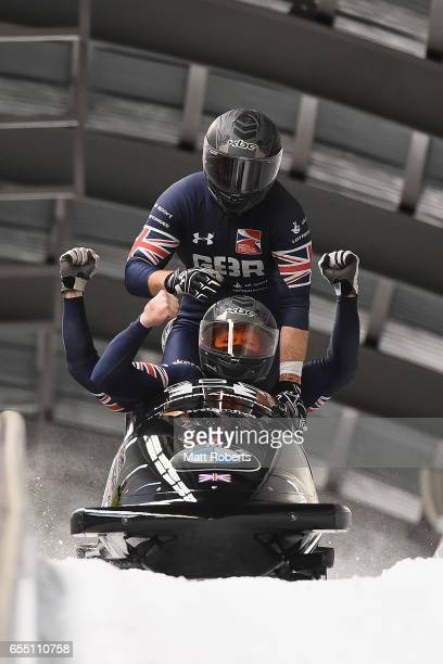 Pilot Johannes Lochner of Great Britain competes with Matthias Sommer, Joshua Bluhm and Christian Rasp in the 4-man Bobsleigh during the BMW IBSF...