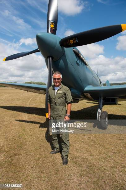 Pilot John Romain of the Thank You NHS Spitfire at Goodwood on August 01 2020 in Chichester England The 'Thank U NHS' Spitfire will take to the skies...