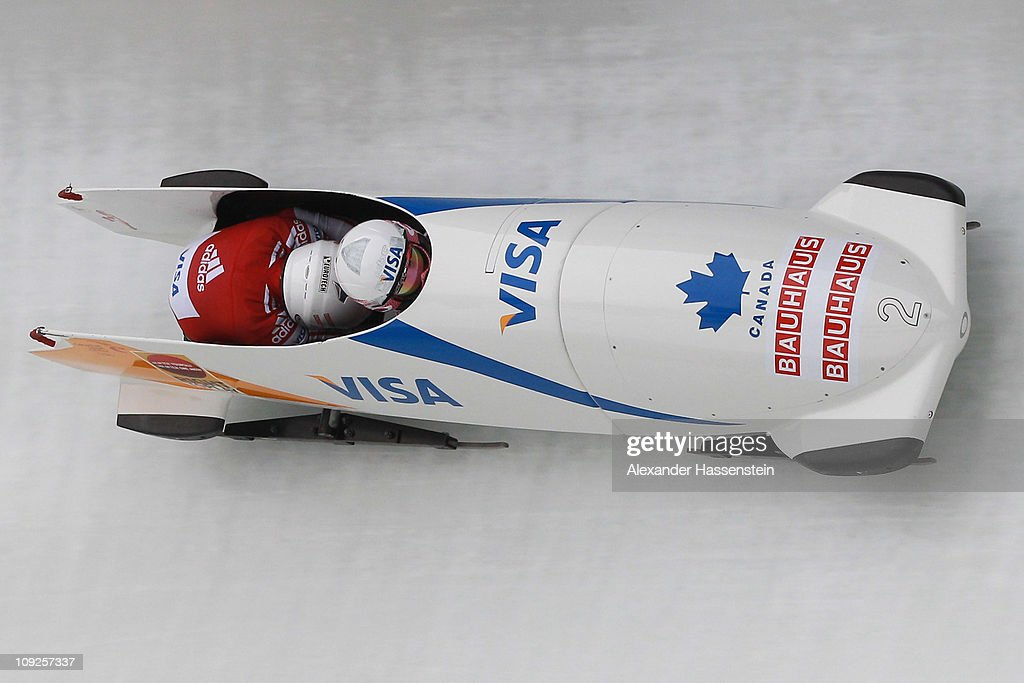 Pilot Kaillie Humphries and Heather Moyse of Team Canada 1 competes at the first run of the women's Bobsleigh World Championship on February 18, 2011 in Koenigssee, Germany.