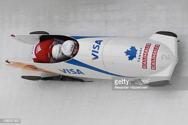 Pilot Kaillie Humphries and Heather Moyse of Team Canada 1 competes at the first run of the women's Bobsleigh World Championship on February 18, 2011...