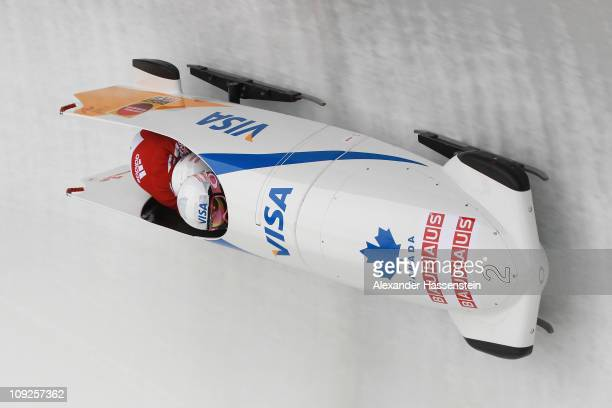Pilot Kaillie Humphries and Heather Moyse of Team Canada 1 competes at the first run of the women's Bobsleigh World Championship on February 18 2011...