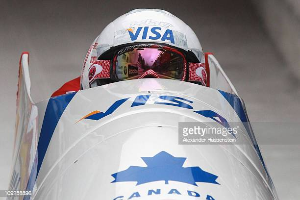 Pilot Kaillie Humphries and Heather Moyse of Team Canada 1 starts for the second run of the women's Bobsleigh World Championship on February 18 2011...