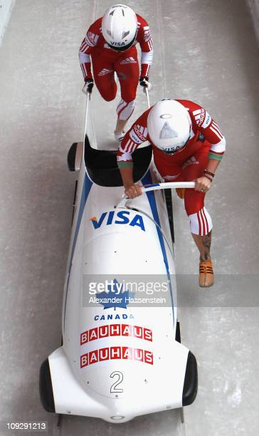 Pilot Kaillie Humphries and Heather Moyse of Team Canada 1 starts for the 3rd run of the women's Bobsleigh World Championship on February 19, 2011 in...