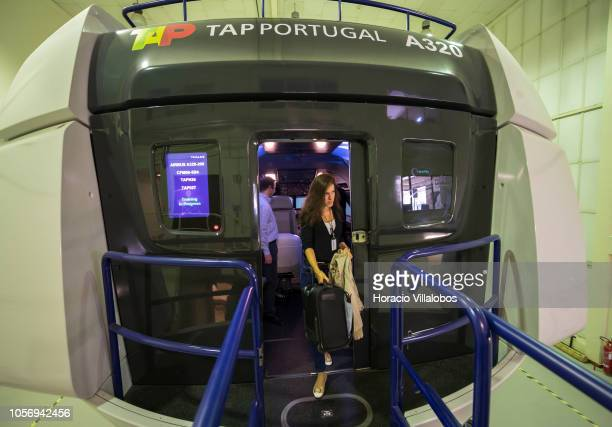 A pilot leaves TAP A320 medium range flight simulator at the end of a training session in TAP Air Portugal training center in Lisbon International...