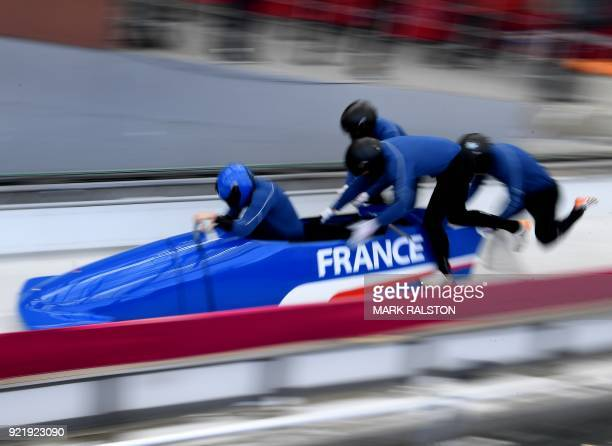 TOPSHOT Pilot Loic Costerg of France leads his team as they start the 4man bobsleigh training session during the Pyeongchang 2018 Winter Olympic...