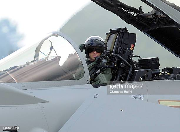 A pilot looks out from his cockpit as Italian Eurofighter EF2000 Typhoons prepare for take off on March 22 2011 at the Gioia Del Colle airbase in...