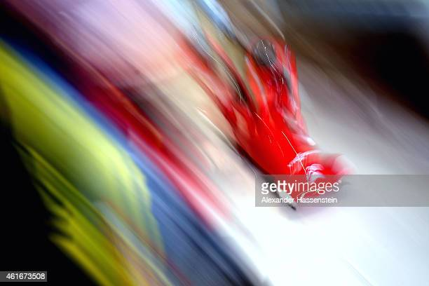 Pilot Lukas Gschnitzer and Mattia Variola of Italy compete during the Viessmann FIBT Bob World Cup at Deutche Post Eisarena on January 17 2015 in...
