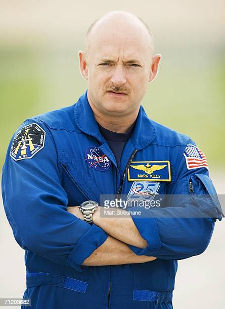 Pilot Mark Kelly participates in a launch pad press conference held by astronauts for NASA's next Space Shuttle mission, STS-121, June 14, 2006 at...