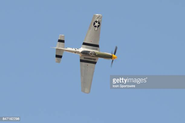 Pilot Mark Murphy makes an extremely steep bank in his P51 Mustang at the 54th National Championship Air Races the only closed course pylon racing...