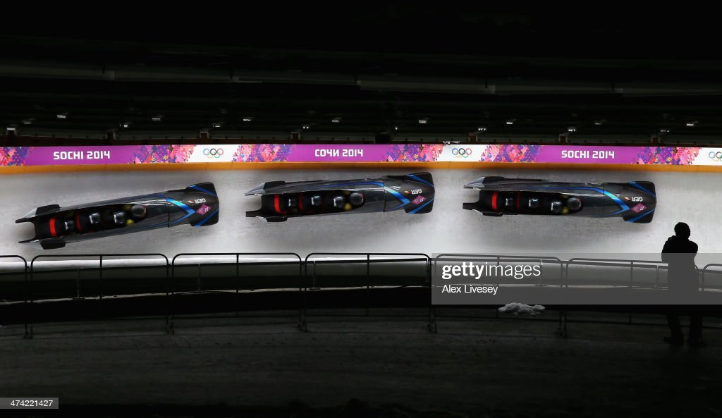 Pilot Maximilian Arndt, Marko Huebenbecker, Alexander Roediger and Martin Putze of Germany team 1 make a run during the Men's Four Man Bobsleigh heats on Day 15 of the Sochi 2014 Winter Olympicsat Sliding Center Sanki on February 22, 2014 in Sochi, Russia.