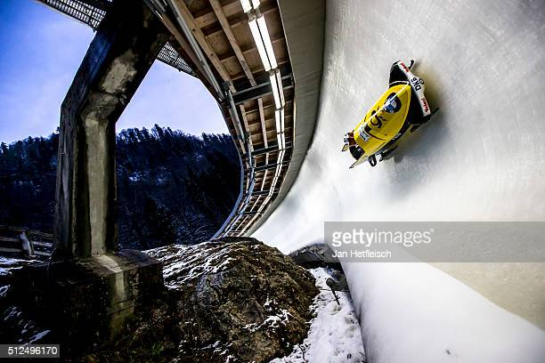Pilot Miriam Jamaica and her pusher Franziska Bertels of Germany compete in their first run of the women's skeleton competition during the BMW IBSF...