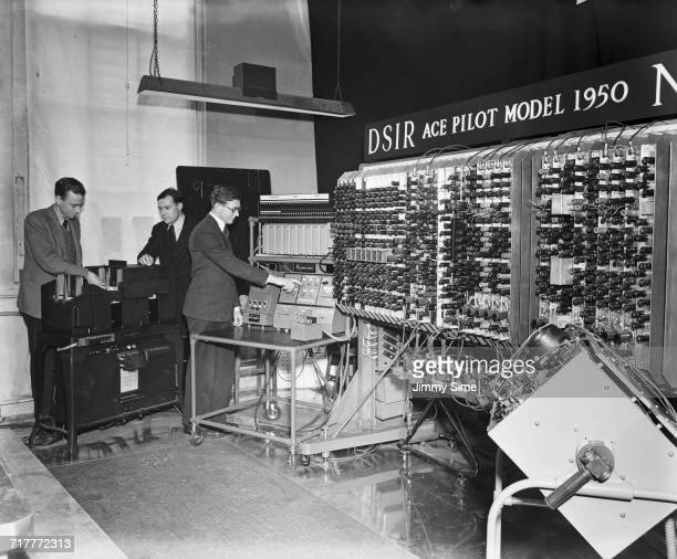 Pilot Model ACE the prototype of the Automatic Computing Engine on show to the press at the National Physical Laboratory at Bushy Park in Teddington...