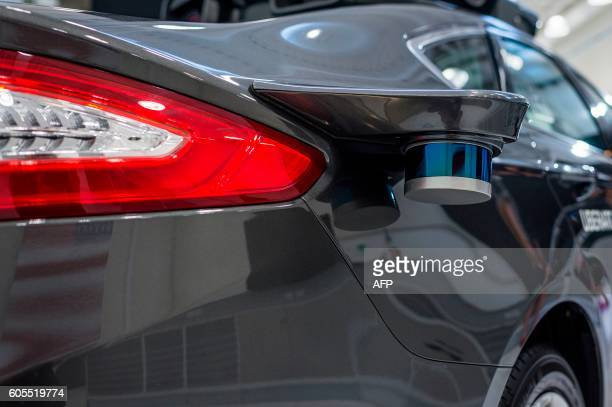 A pilot model of the Uber selfdriving car is displayed at the Uber Advanced Technologies Center on September 13 2016 in Pittsburgh Pennsylvania Uber...