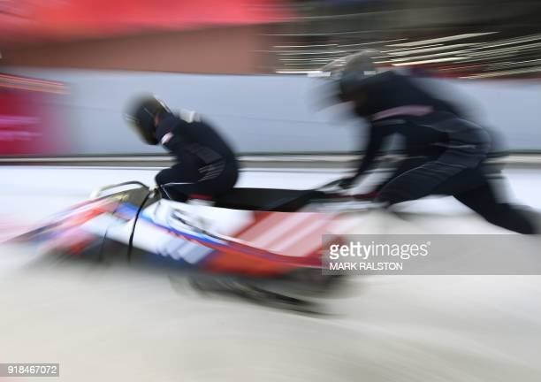 TOPSHOT Pilot Nick Cunningham of the US starts in the men's 2man bobsleigh training session at the Olympic Sliding Centre during the Pyeongchang 2018...