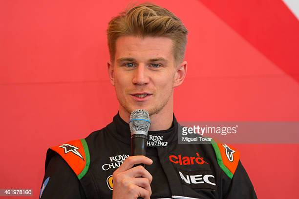 Pilot Niko Hulkenberg talks during a press conference at the Hermanos Rodriguez Racing Circuit Facilities on January 22, 2015 in Mexico City, Mexico....